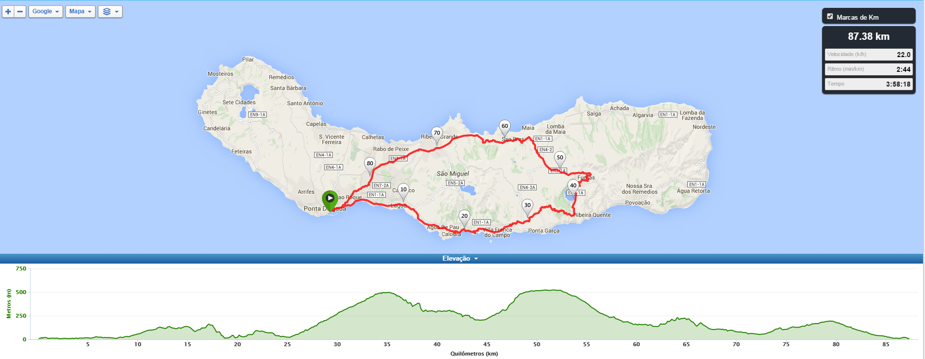 Road Bike Tour - Furnas Cozido Tour - map