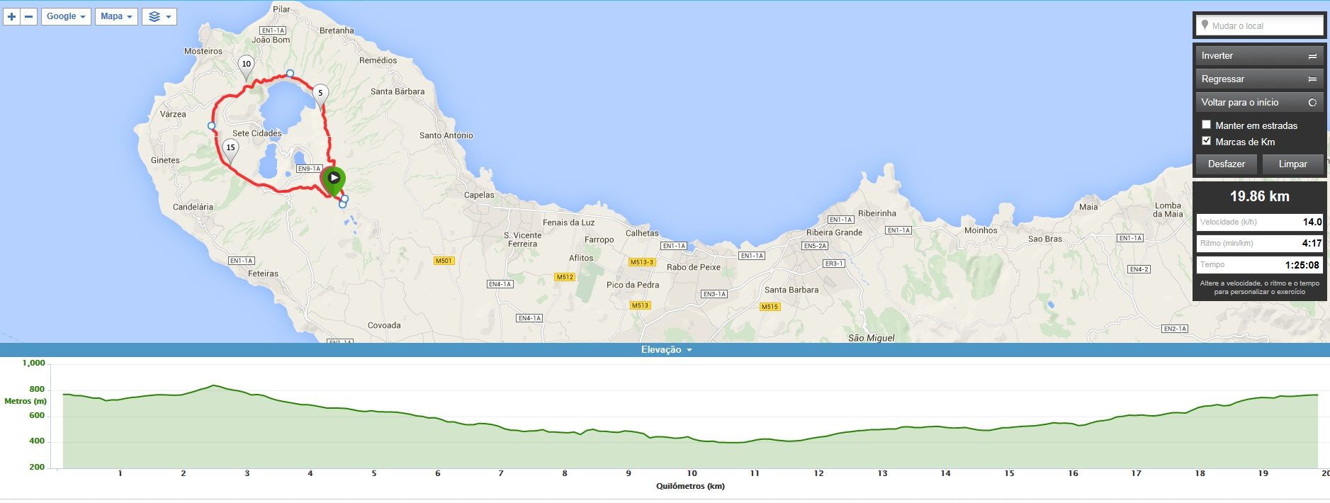 MTB Bike Tour - Sete Cidades Ridge - map
